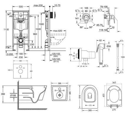 Комплект інсталяція Grohe Rapid SL 38722001 + унітаз з сидінням Qtap Swan QT16335178W + набір для гігієнічного душу зі змішувачем Grohe BauLoop 111042 - 2