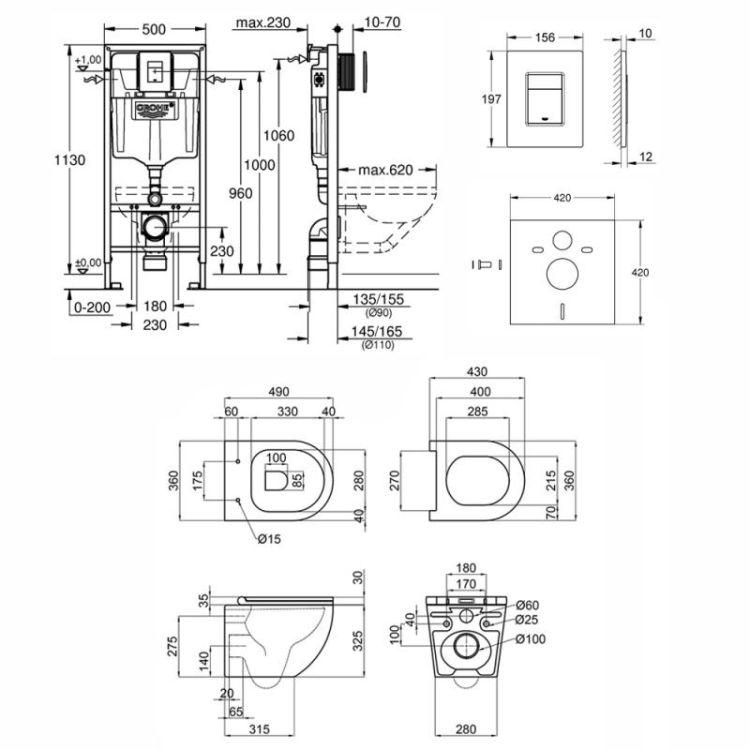 Набір інсталяція 5 в 1 Grohe Rapid SL 38827000 + унітаз з сидінням Qtap Robin QT1333046ENRW - 2