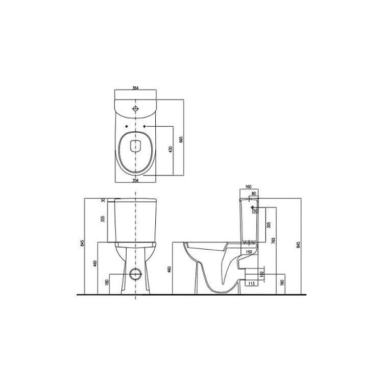 NOVA PRO унітаз-компакт Rimfree:унітаз підлоговий, м/в, Rimfree, бачок округлої форми, нижн/п, 6/3 л, Soft Close - 2
