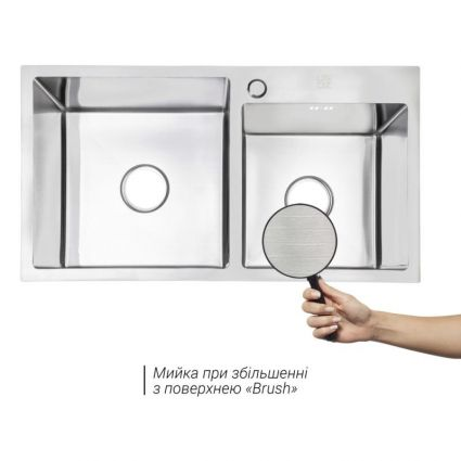 Кухонна мийка Lidz H7843 Brush 3.0/1.0 мм (LIDZH7843BRU3010) - 3