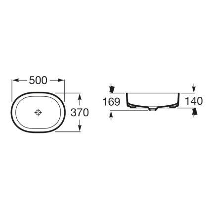 INSPIRA Round умивальник 500*370*140мм, круглий, накладної, без отв. під змішувач, без переливу - 2
