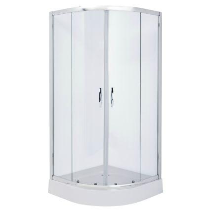 FIESTA душова кабіна 90*90*200 см на дрібному піддоні, профіль хром, прозоре скло - 1