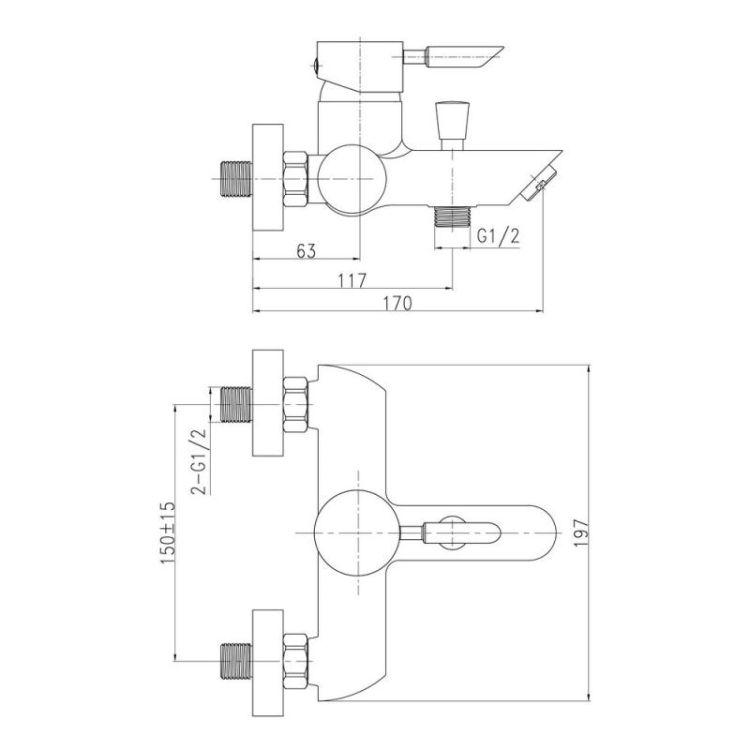 Смеситель для ванны Q-tap Elit 006 - 2