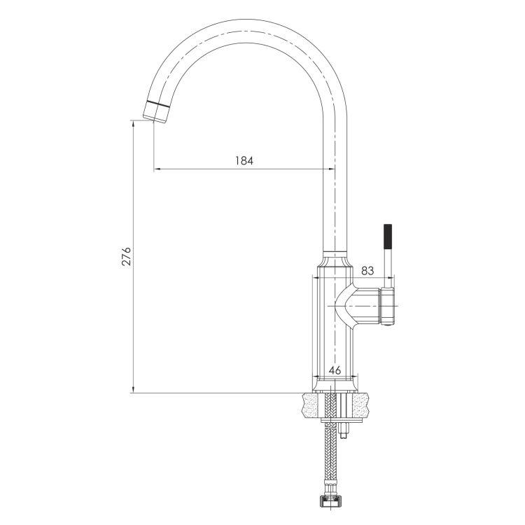 BRENTA змішувач для кухні, граф.хром, 25 мм - 2