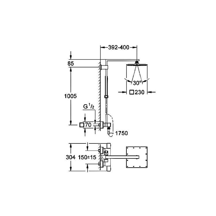 Euphoria Cube XXL System 230 Душова система, хром - 2
