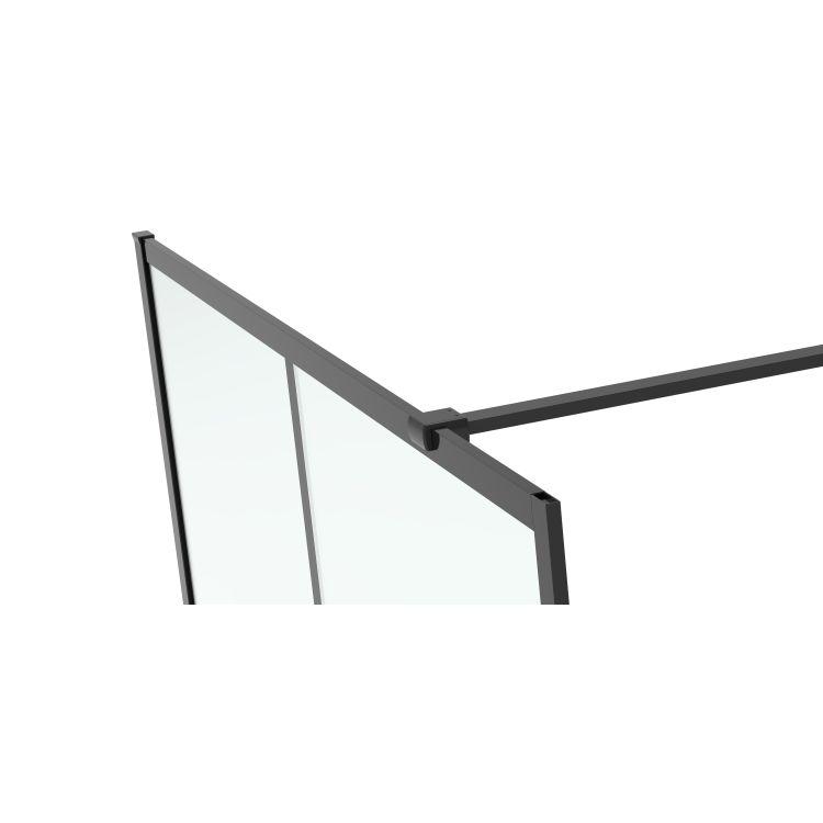 Malla Negra стінка Walk-In 1200*2000*8mm в комплекті з тримачем, профіль чорний матовий - 2