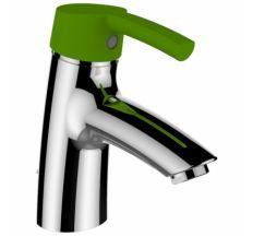 CURVEPRO смеситель для раковины, однорычажный, картридж Ecototal, длина излива 110мм, с донным клапаном, рычаг зеленый (для коллекции florakids)