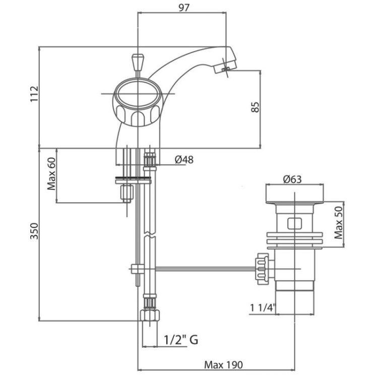 Змішувач Сан LVB 10250А CRM Bianchi для умивальника з донн. клап. - 2