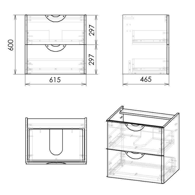 NOVA VLNA M комплект меблів 60см, чорний: тумба підвісна, 2 ящика + умивальник накладний арт i11052 - 3