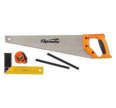 Набор столярный, 5 предметов (карандаш-2шт., ножовка 450мм, угольник строительный) SPARTA