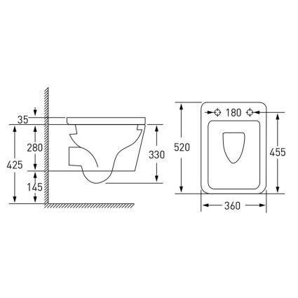 Комплект: LIBRA S Rectangular унітаз 51*34,5*34см підвісний, сидіння Slim slow-closing+IMPRESE комплект 3в1 інсталяції - 3