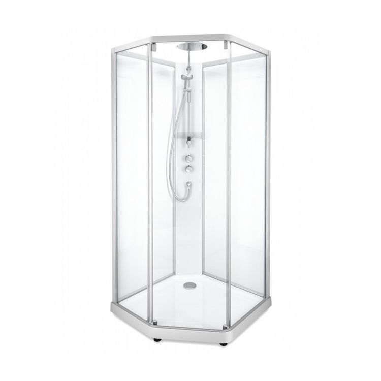 SHOWERAMA 10-5 Comfort душевая кабина пятиугольная 90*90см, профиль серебристый, прозрачное стекло/матовое стекло - 1