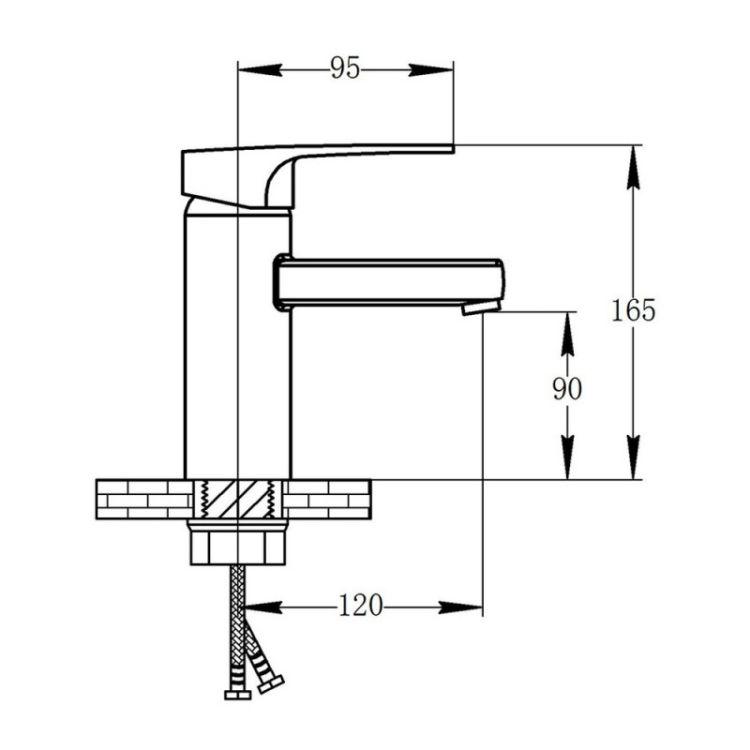 Смеситель для умывальника Potato P1030-6 черный гайка - 2