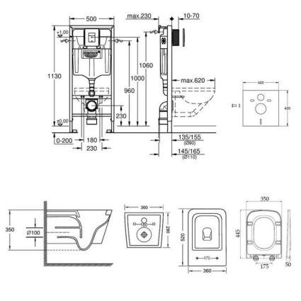 Набір інсталяція 5 в 1 Grohe Rapid SL 38827000 + унітаз з сидінням Qtap Crow QT05335170W - 2