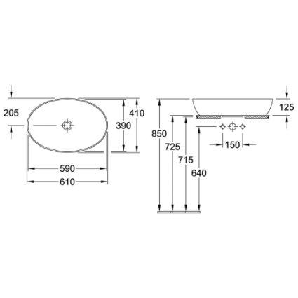 ARTIS умивальник 61*41см, для установки на стільницю, овальний, без переливу, білий альпін - 2