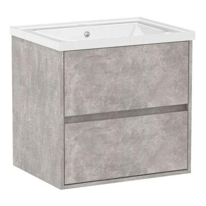 TEO комплект меблів 65см бетон: тумба підвісна, 2 ящика + умивальник накладний арт 15-88-060 - 1