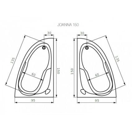 Ванна акрилова Cersanit Joanna New L 150x95 з ніжками - 3