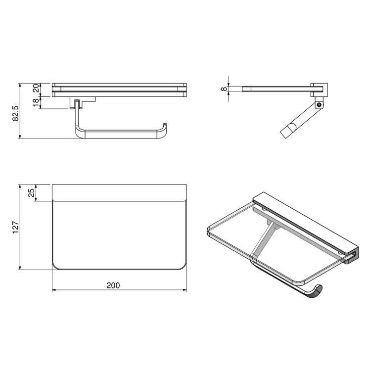 TEO тримач паперу з поличкою матове скло, кріплення до стіни, хром - 2