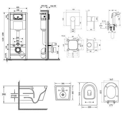 Комплект Qtap інсталяція Nest QTNESTM425M08CRM + унітаз з сидінням Swan QT16335178W + набір для гігієнічного душу зі змішувачем Form QTFORMCRM001AB - 2