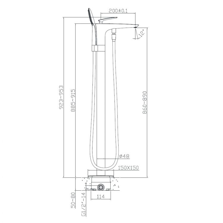 Змішувач для ванни, окремостоячий, хром, (12-33-101) - 2