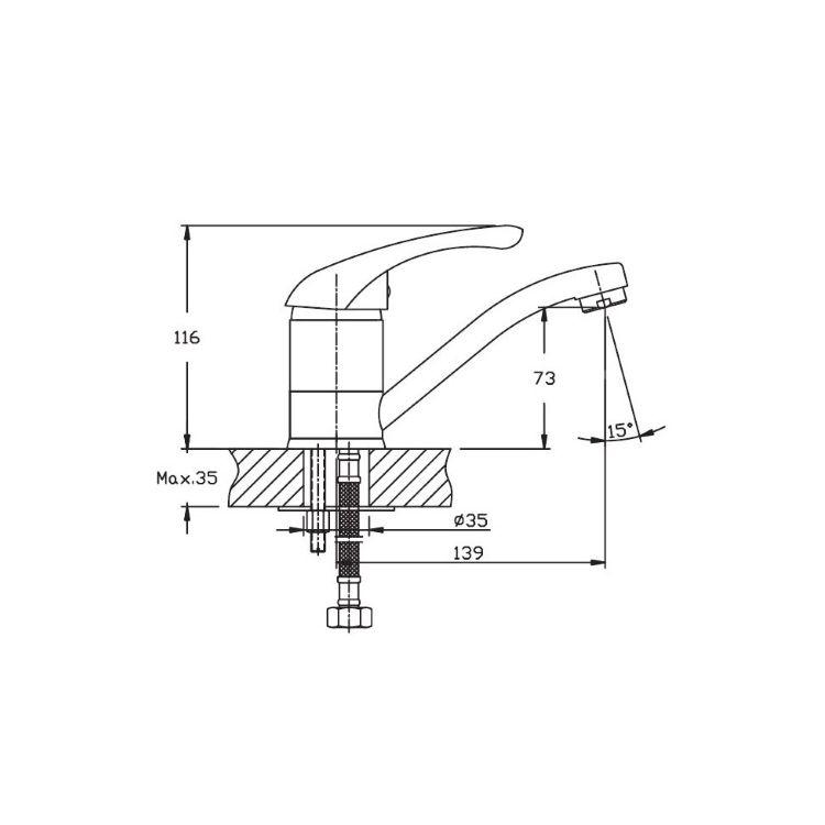 Смеситель для умывальника HAIBA Luxor 004-15см - 2