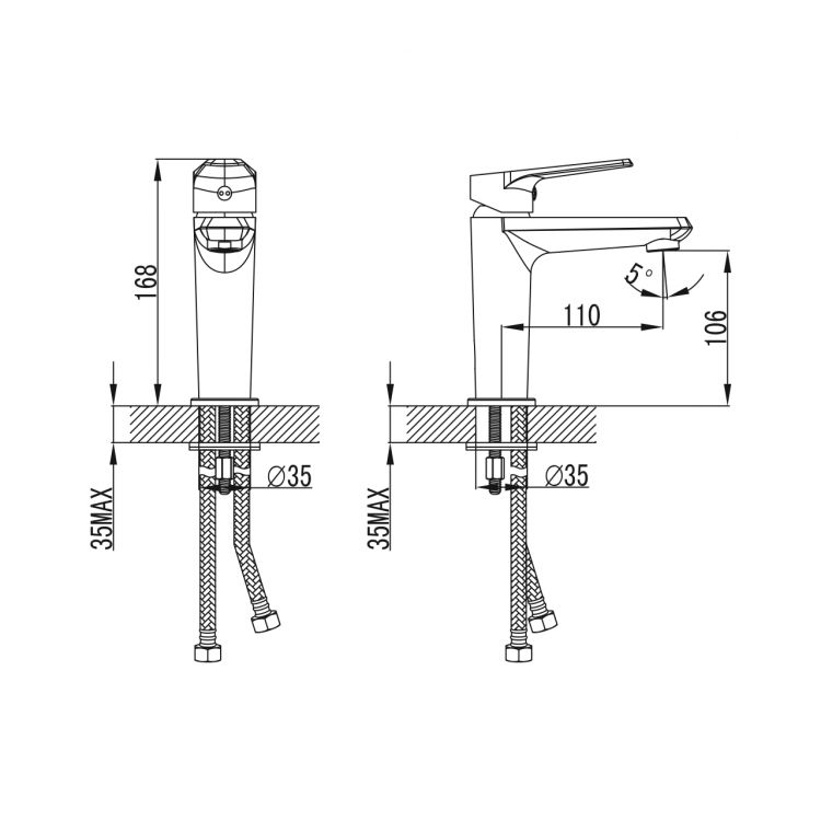 BARKA cмеситель для раковины, хром, 35 мм - 2