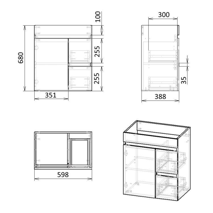 FLY комплект меблів 60см, білий: підлогова тумба, 2 шухляди, дверцята 1 + умивальник накладний арт RZJ610 - 4