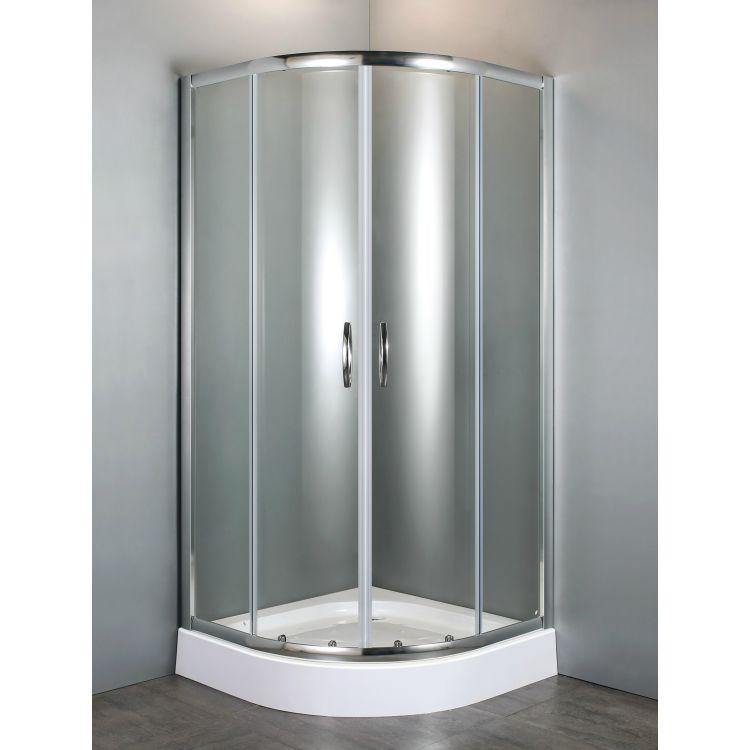 FIESTA душова кабіна 90*90*200 см на дрібному піддоні, профіль хром, прозоре скло - 5