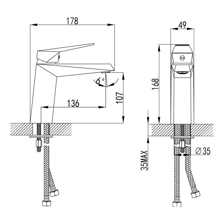 ORLANDO смеситель для раковины, хром, 35 мм - 2