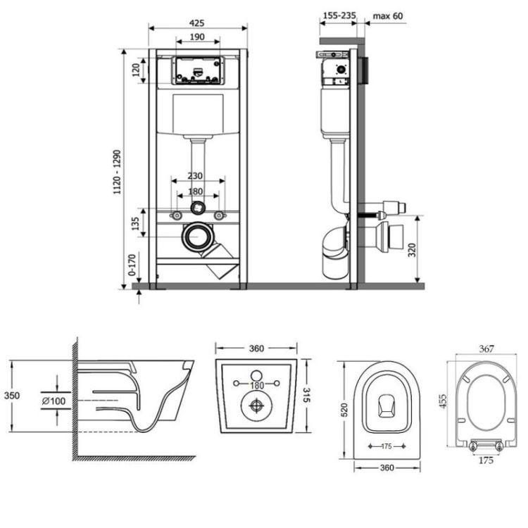 Набір Qtap інсталяція Nest QTNESTM425M06SAT + унітаз з сидінням Jay QT07335176W - 2