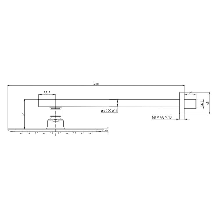 BRECLAV душ верхній хром, сталь,(300х200 мм), білий тримач латунь - 2