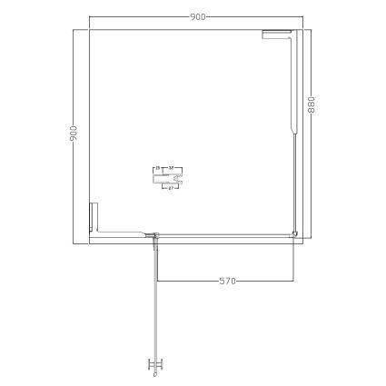 BENITA душова кабіна квадратна 900*900*2000мм, піддон (PUF) 5 см (з сифоном),ліва, орні, профіль хром, прозоре скло - 3