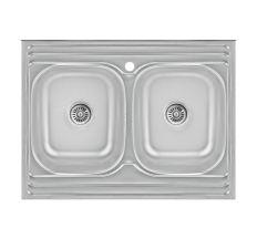 Кухонна мийка Lidz 6080 Satin 0,8 мм (LIDZ6080DBSAT8)