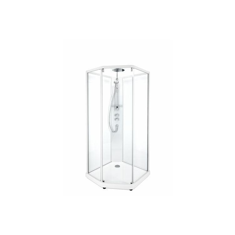 SHOWERAMA 10-5 Comfort задні стінки душової п'ятикутні кабіни 100*100см, білий профіль/прозоре скло - 1