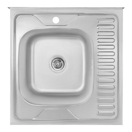 Кухонна мийка Lidz 6060-L Satin 0,8 мм (LIDZ6060LRSAT8) - 1