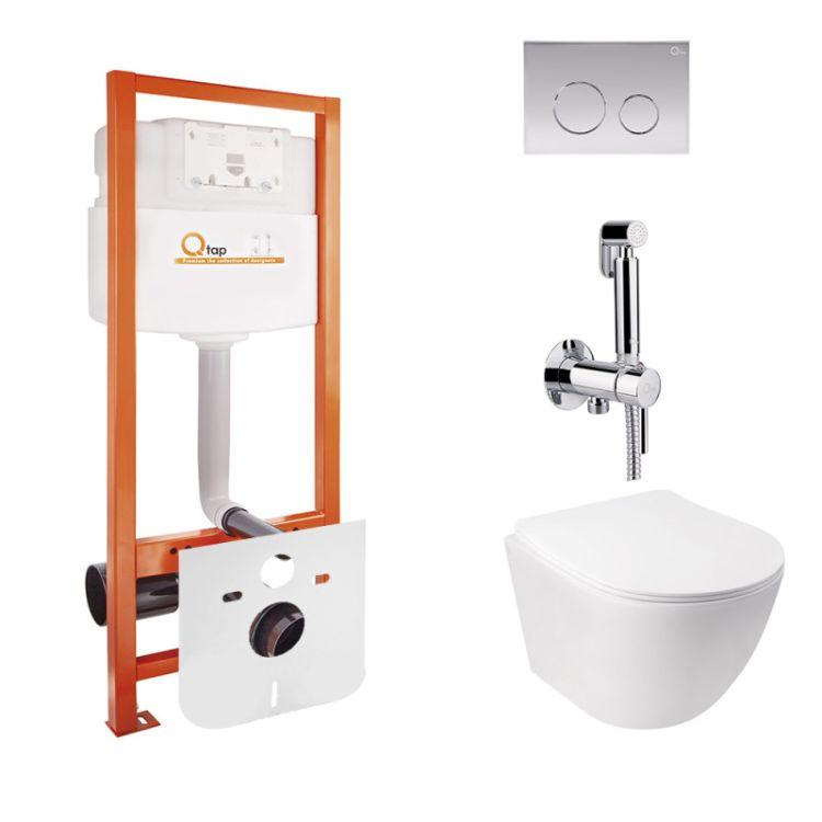 Комплект Qtap інсталяція Nest QTNESTM425M11CRM + унітаз з сидінням Jay QT07335176W + набір для гігієнічного душу зі змішувачем Inspai-Varius QTINSVARCRMV00440001 - 1