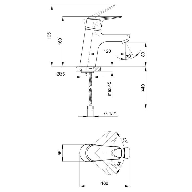 Змішувач для умивальника Q-tap Jody 001 CRM - 2
