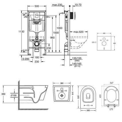 Набір інсталяція 4 в 1 Grohe Rapid SL 38772001 + унітаз з сидінням Qtap Jay QT16335178W - 2