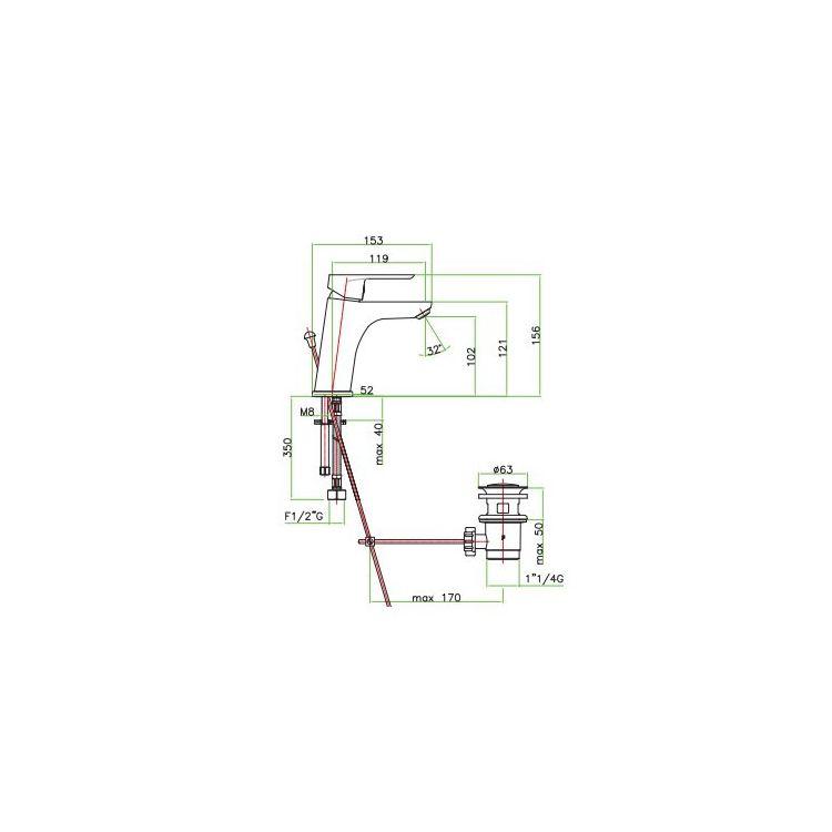 Змішувач для умивальника Santan KEVON CHIC 81ВС8123 White з донним клапаном - 2