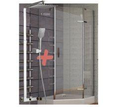 STEFANI душевая кабина пятиугольная 90*90*205 см, поддон (15 см), распашная, стекло прозрачно+ODLOVE система душевая (смеситель для душа)