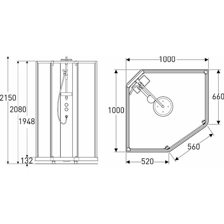 SHOWERAMA 10-5 Comfort задні стінки душової п'ятикутні кабіни 100*100см, білий профіль/прозоре скло - 2