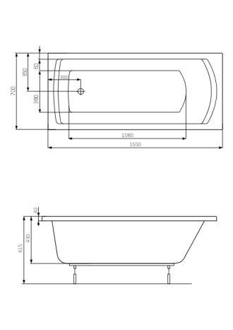 LINEA ванна 160*70см, з ніжками - 2