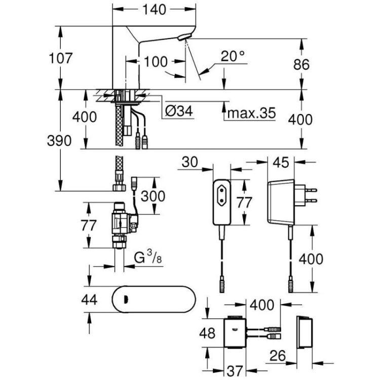 Змішувач для умивальника Grohe Euroeco Cosmopolitan E 36409000 Bluetooth безконтактний (без функції - 2