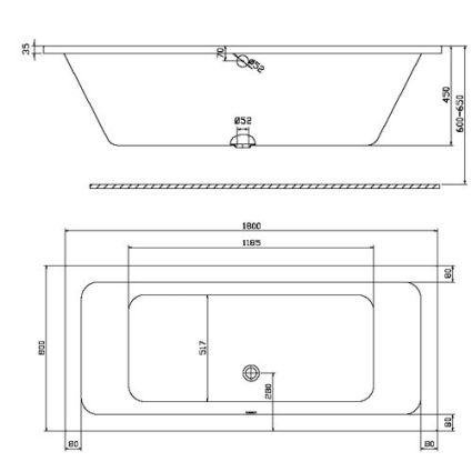 MODO прямокутна ванна 180*80см, центральний злив, з ніжками SN7 - 2