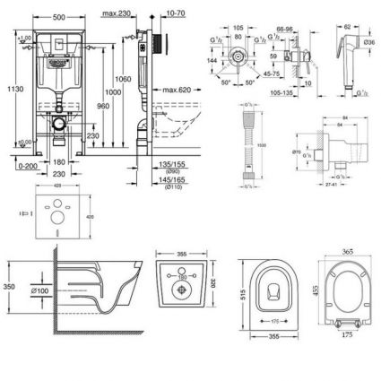 Комплект інсталяція Grohe Rapid SL 38772001 + унітаз з сидінням Qtap Swan QT16335178W + набір для гігієнічного душу зі змішувачем Grohe BauClassic 111048 - 2