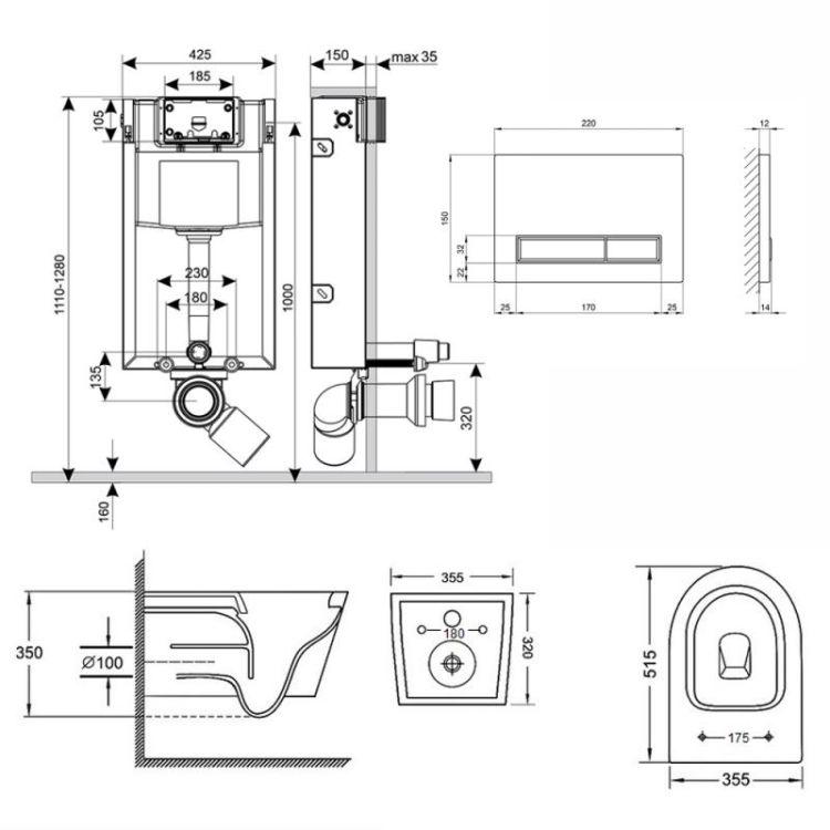 Набір Qtap інсталяція 3 в 1 Nest QT0133M425 з панеллю змиву лінійної QT0111M08V1091MB + унітаз з сидінням Swan QT16335178W - 2