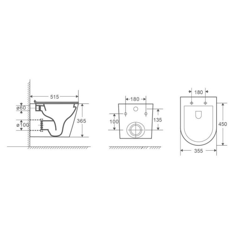 Унітаз підвісний Qtap Scorpio безободковый з сидінням Slim Soft-close QT1433053ERMB - 2
