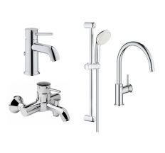 BAUCLASSIC набор смесителей 4в1 для ванны и кухни (23162000+32865000+27598001+31234001)