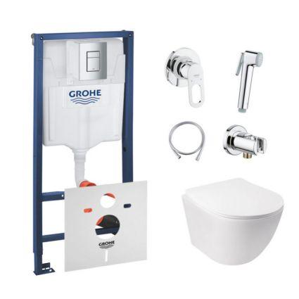 Комплект інсталяція Grohe Rapid SL 38772001 + унітаз з сидінням Qtap Jay QT07335176W + набір для гігієнічного душу зі змішувачем Grohe BauLoop 111042 - 1