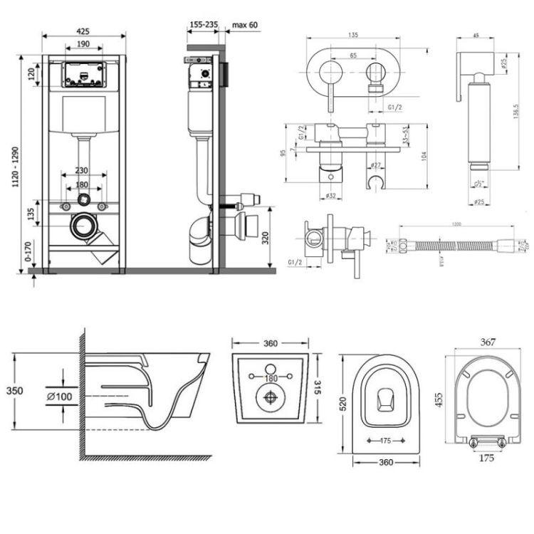 Комплект Qtap інсталяція Nest QTNESTM425M11CRM + унітаз з сидінням Jay QT07335176W + набір для гігієнічного душу зі змішувачем Inspai-Varius QTINSVARCRMV00440501 - 2